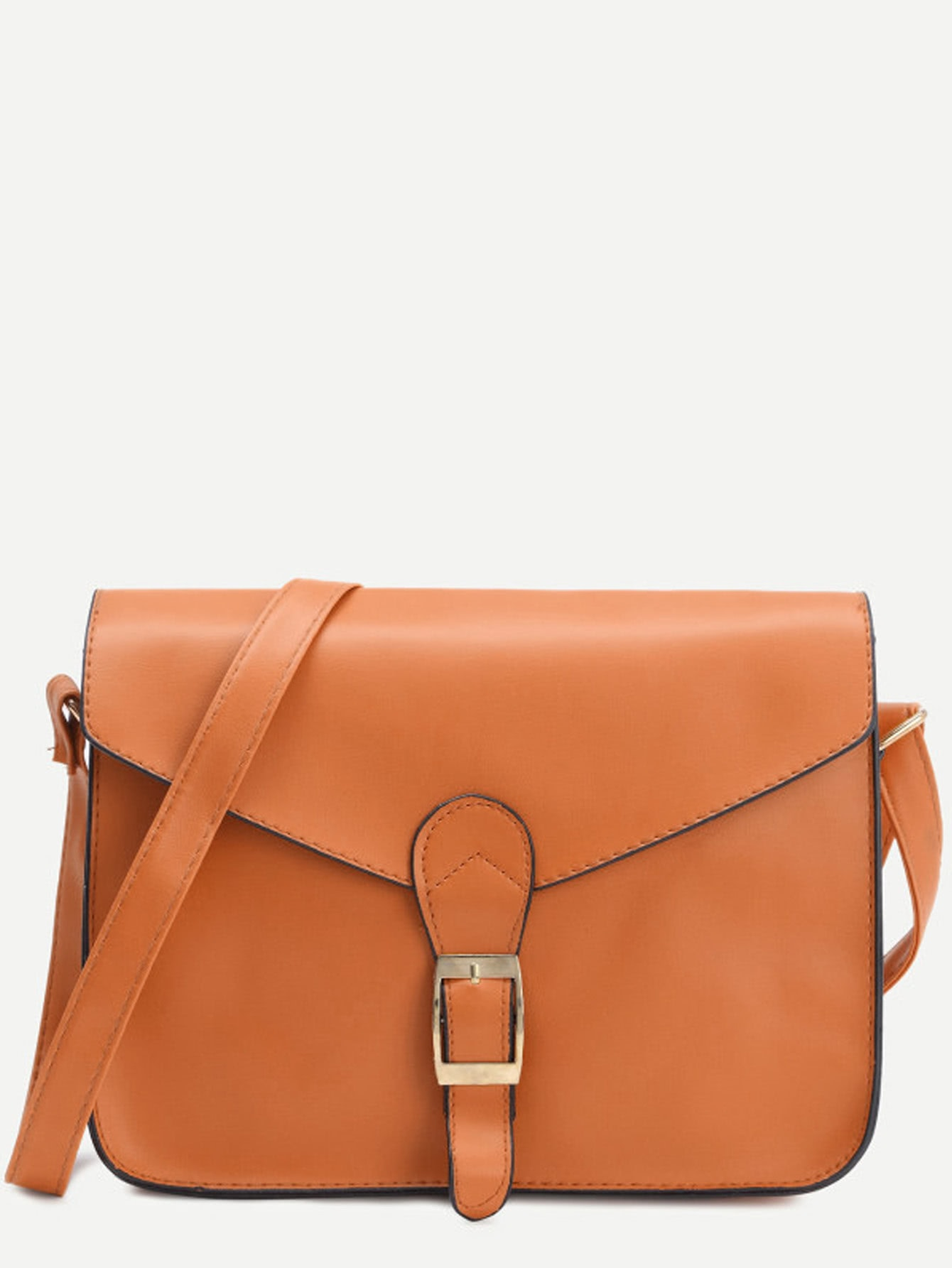 Фото #1: Yellow Faux Leather Flap Strap Buckle Bag