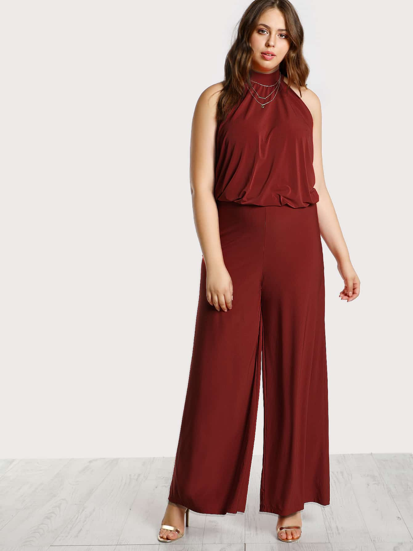 Image of Back Tie Halter Neck Jumpsuit