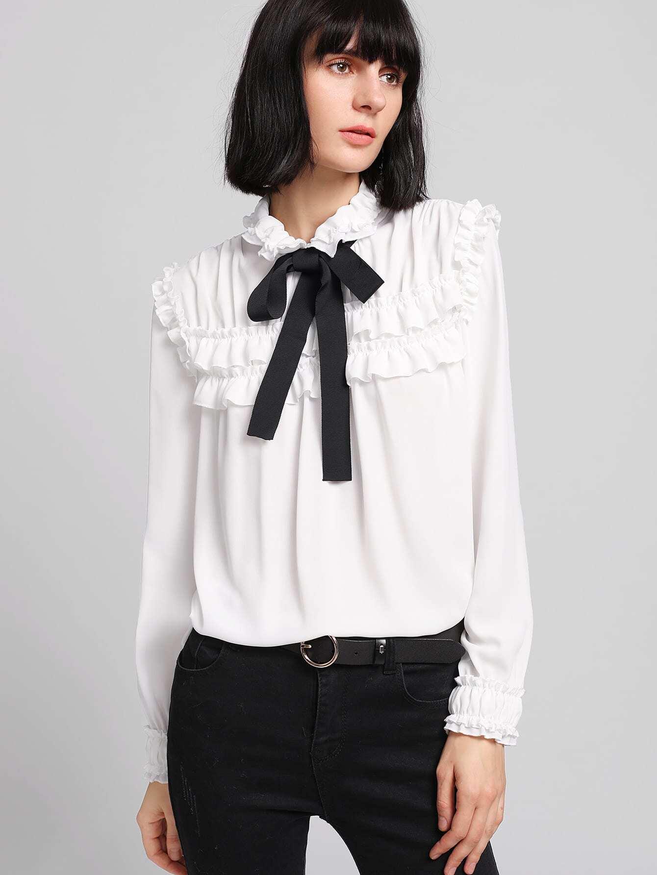 Купить Модная блуза с оборкой и бантом, Ksenia G, SheIn