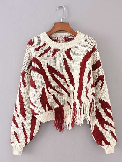 Fringe Hem Asymmetrical Sweater