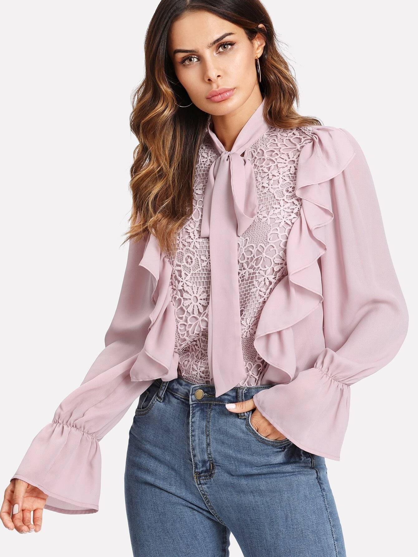 Tie Neck Lace Applique Ruffle Blouse blouse171120704