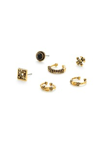 Multi Shaped Design Stud Earring Set