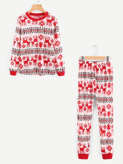 Elk Print Top And Pants Set