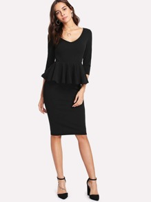 Form Fitted Peplum Dress
