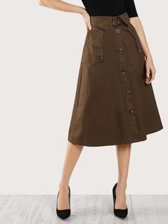 Pocket Side Button Up Skirt