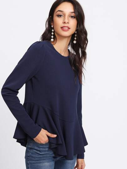 Buttoned Keyhole Back Flounce Trim Textured Top