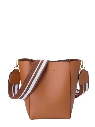 PU Shoulder Bag With Striped Strap