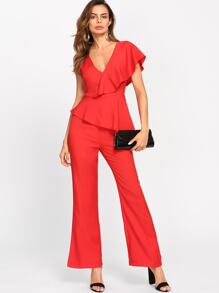 Flounce One Shoulder Plunging Tailored Jumpsuit