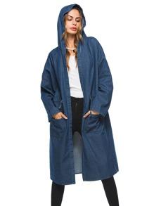 Drop Shoulder Drawstring Hooded Denim Coat
