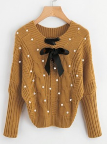 Ribbon Lace Up Pearl Beading Cable Knit Sweater