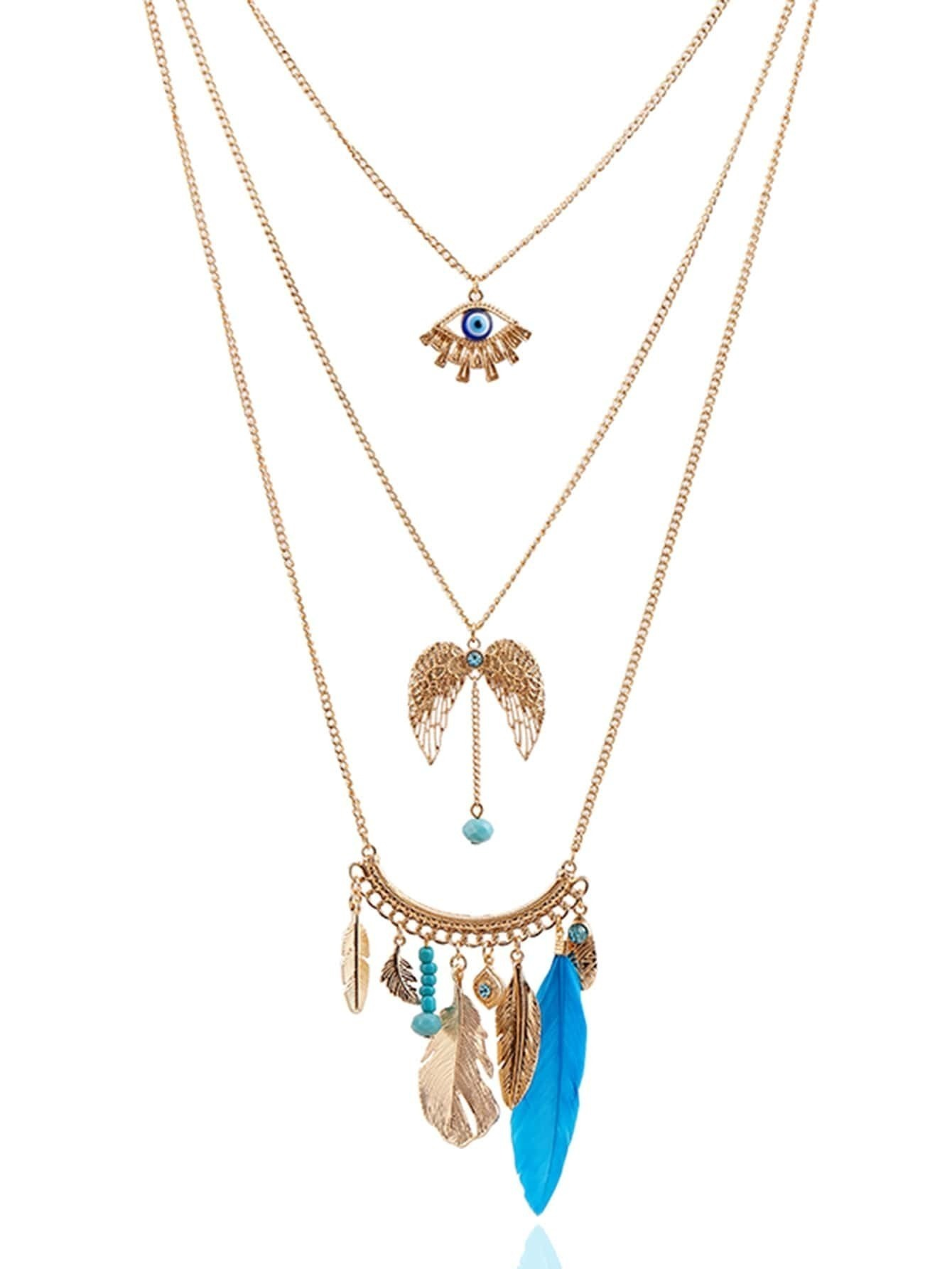 Mixed Pendant Layered Chain Necklace