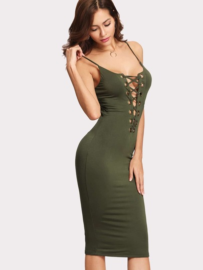 Grommet Lace Up Cami Dress