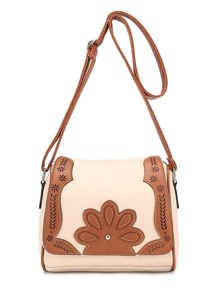 Contrast Laser Cut Patch PU Flap Bag