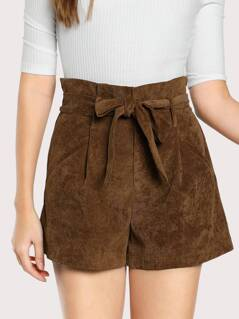 Self Belted Frilled Waist Shorts