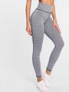 High Waist Marled Knit Leggings