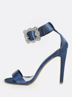 Diamond Ankle Buckle Single Band Heels NAVY