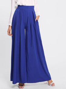 Pleated Zip Up Back Wide Leg Pants