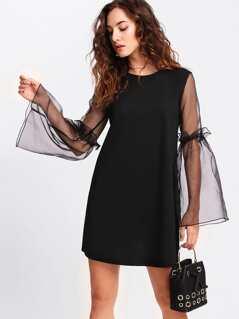 Contrast Mesh Sleeve Frilled Detail Dress