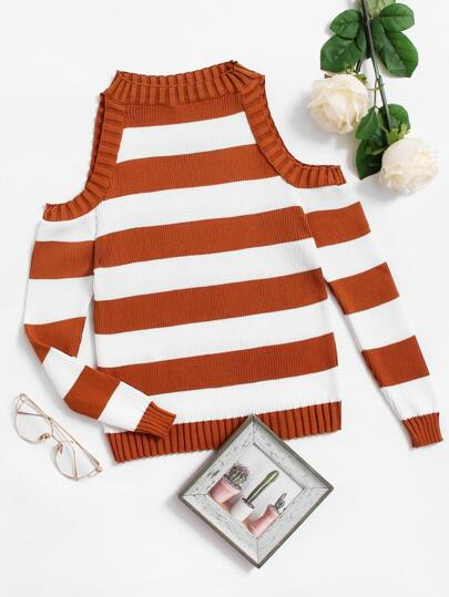 Cold Shoulder Wide Striped Knit Sweater