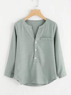 Buttoned Back Striped Blouse