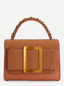 Buckle Front PU Bag With Chain Handle