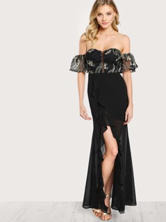 Bardot Sleeve Floral Embroidered Sheer Overlay Dress BLACK MULTI