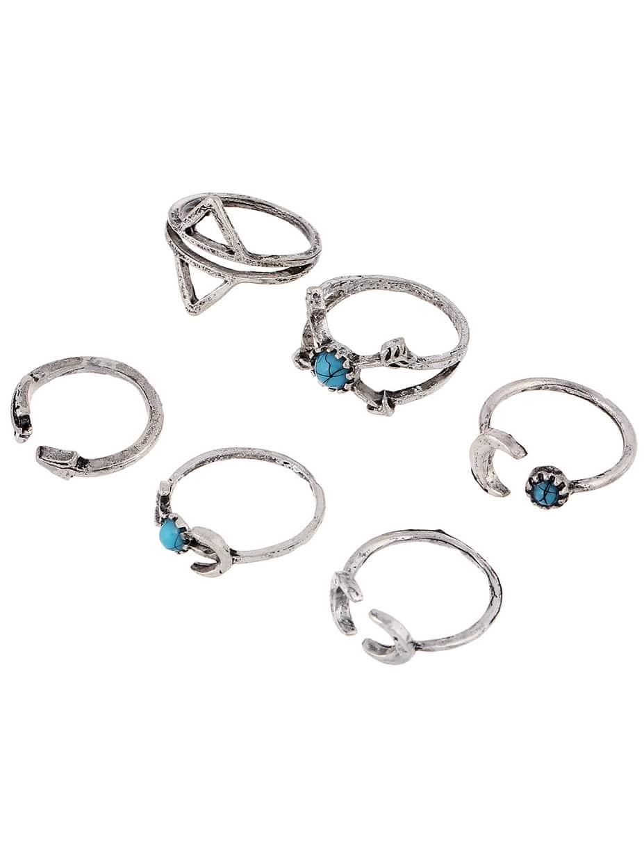 Arrow Shaped Turquoise Ring Set 6pcs