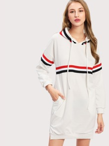 Striped Tape Detail Hoodie Dress