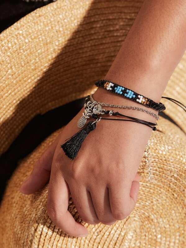 Pineapple & Tassel Charm Bracelet Set 4pcs