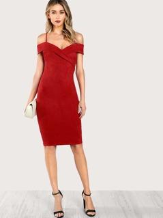 Spaghetti Strap Faux Suede Dress RUST