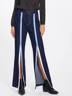 Ribbon Detail Slit Front Flare Hem Jeans