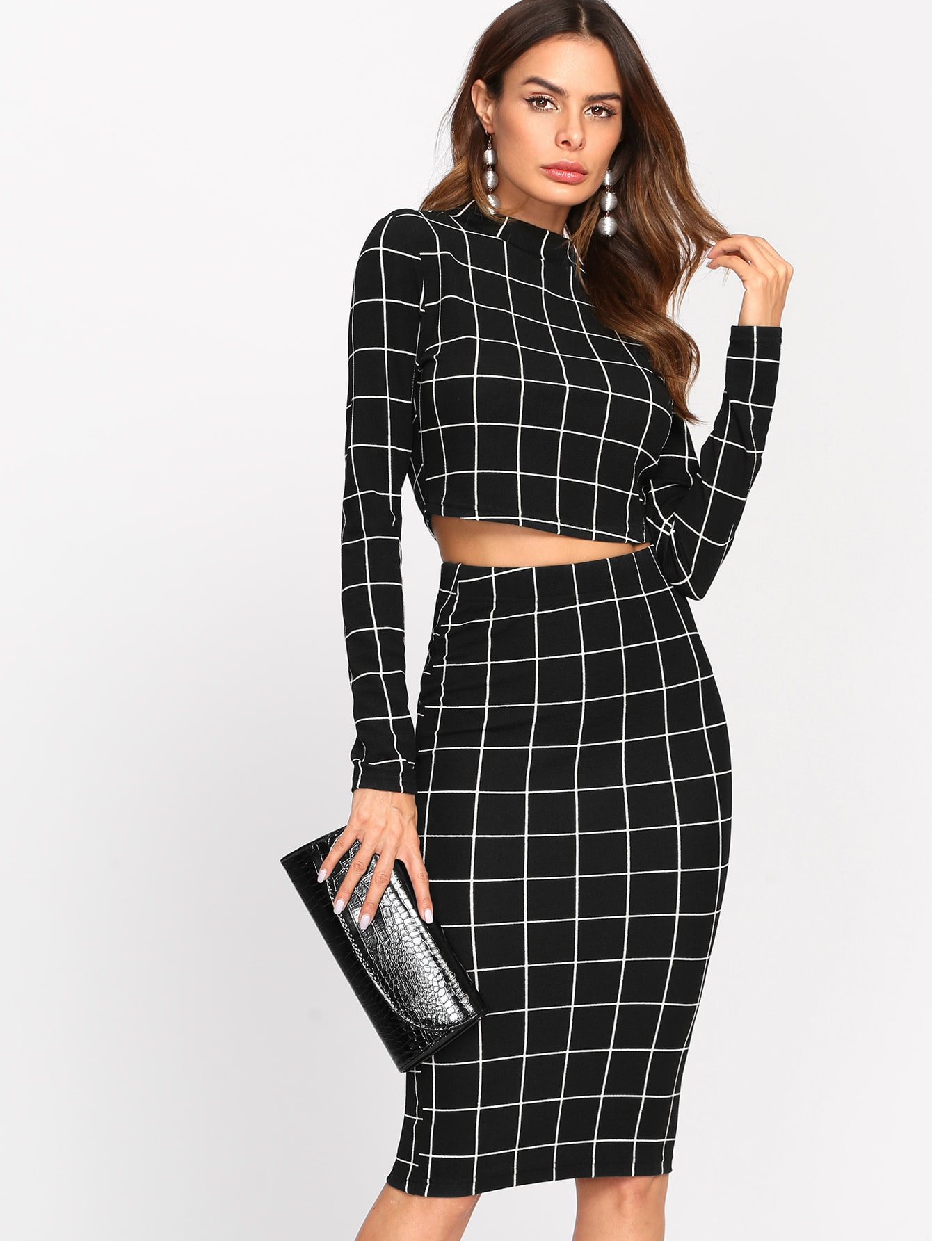 Crop Grid Top & Pencil Skirt Co-Ord faux suede crop top and pencil skirt