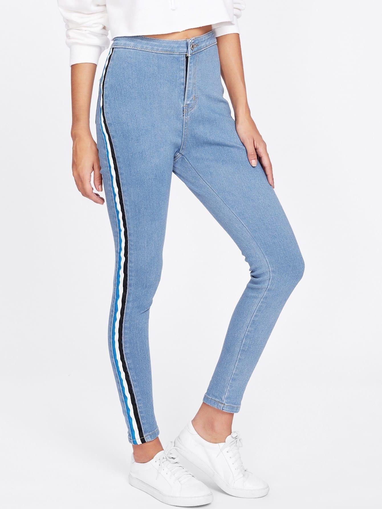 Striped Side Jeans