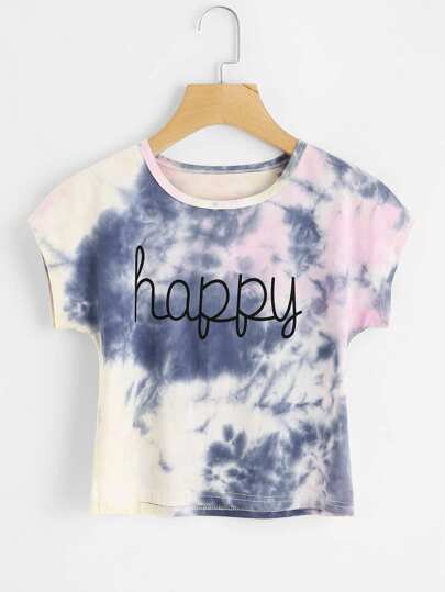 Camiseta de tie dye con estampado de happy