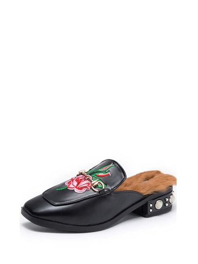 PU Flats mit Rose Stickereien