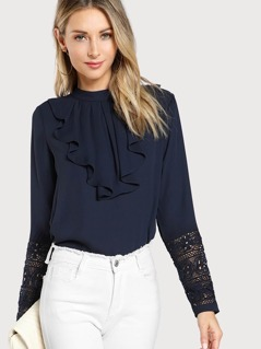 Jabot Collar Guipure Lace Cuff Top