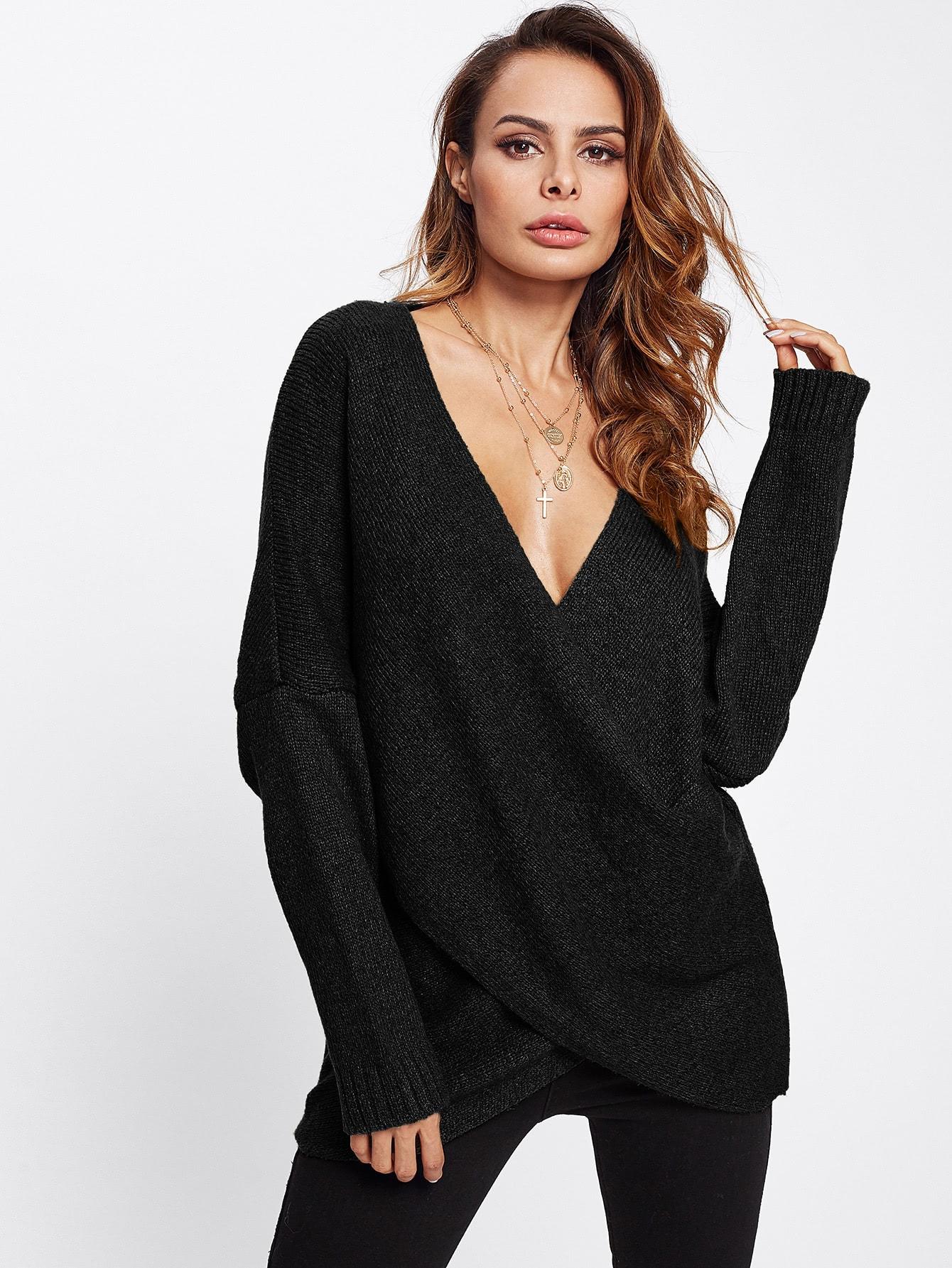 Drop Shoulder Crossover Sweater two tone drop shoulder sweatshirt