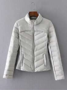 High Neck Zip Up Padded Coat