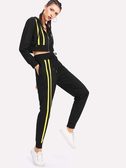Tape Detail Crop Hooded Jacket & Sweatpants Set
