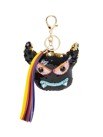 Sequin Overlay Keychain With Tassel