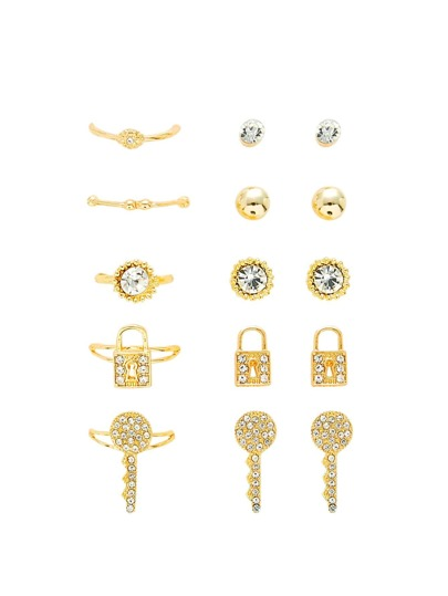 Lock & Key Ring & Earring Set