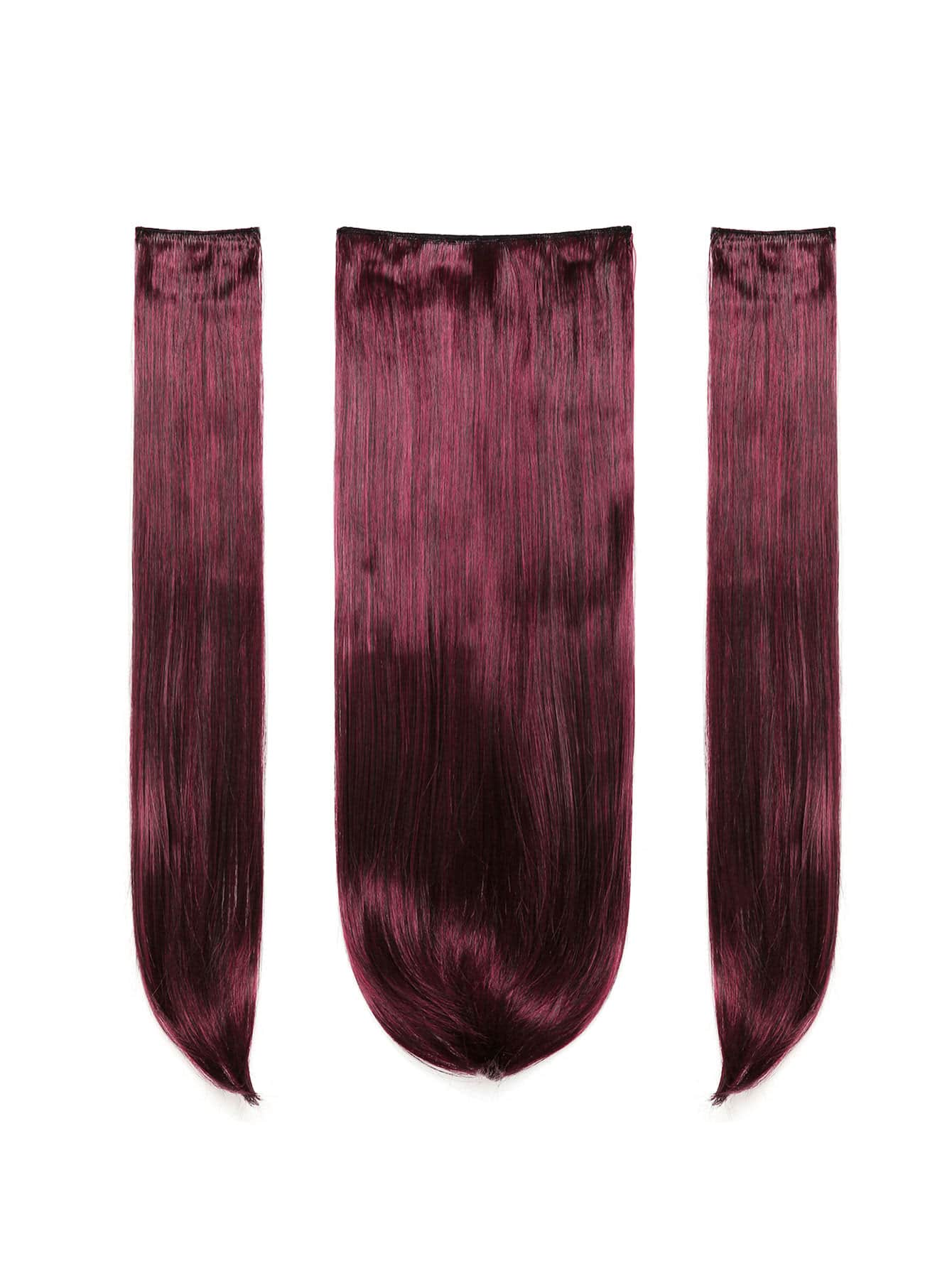 Black & Burgundy Clip In Straight Hair Extension 3pcs