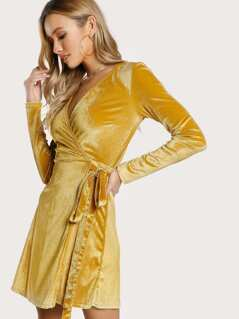 Velvet Long Sleeve Wrap Dress MUSTARD