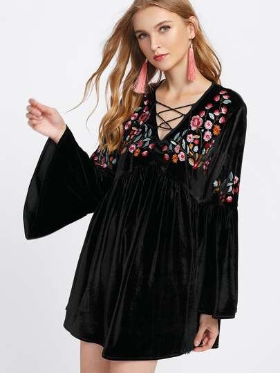 Lace Up Neck Flower Embroidered Velvet Dress