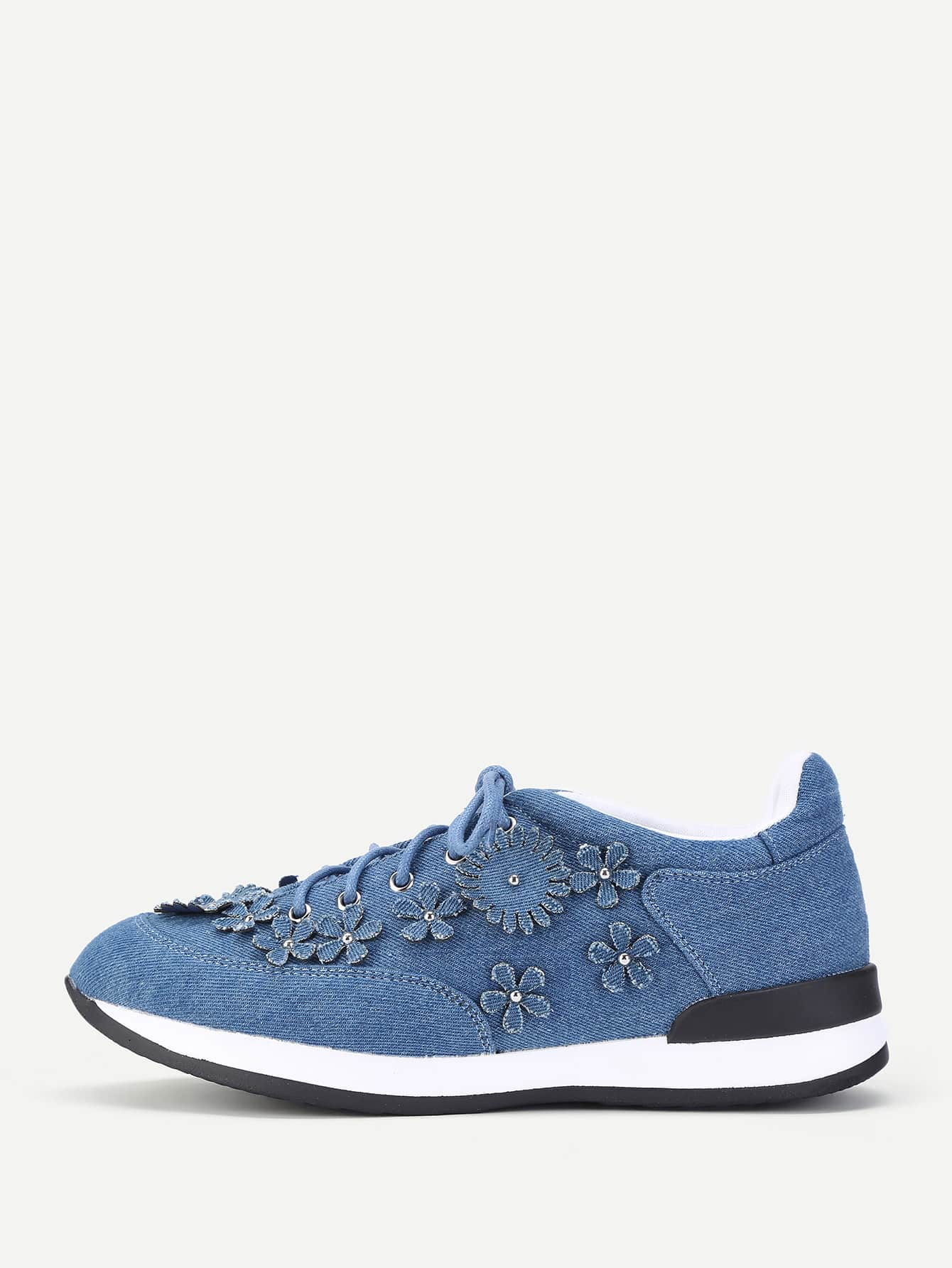 Lace Up Denim Flower Sneakers