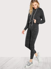Pocket Front Drawstring Waist Marled Knit Sweat Jumpsuit