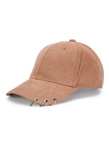 Ring Detail Suede Baseball Cap