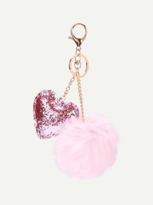 Accesorios de bolsa de corazón con lentejuelas con bola