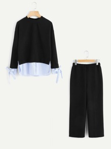 Bow Tie Hem Pinstripe Contrast Top And Pants