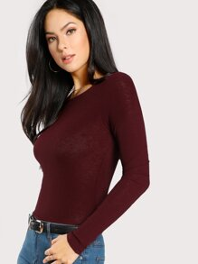Solid Slim Fitted Ribbed T-shirt